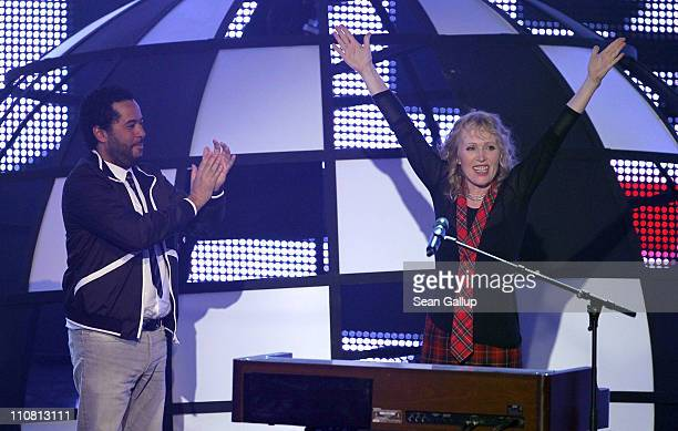Annette Humpe reacts after receiving an award during the Echo award 2011 ceremony at Palais am Funkturm on March 24 2011 in Berlin Germany