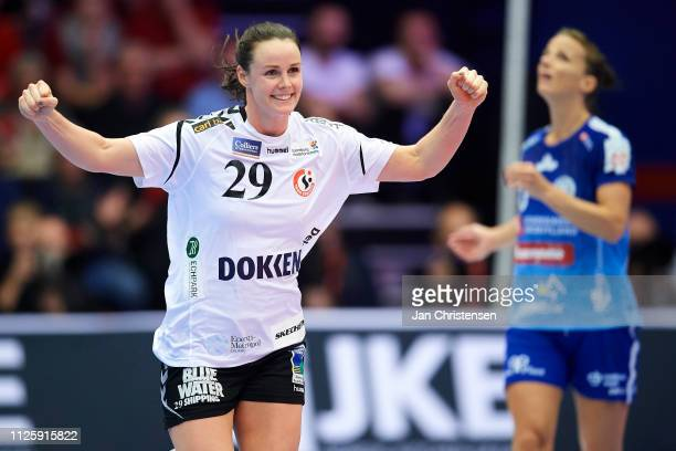 Annette Jensen of Team Esbjerg celebrate after goal during the Santander Final4 3 4 place match between Randers HK and Team Esbjerg in Blue Water...