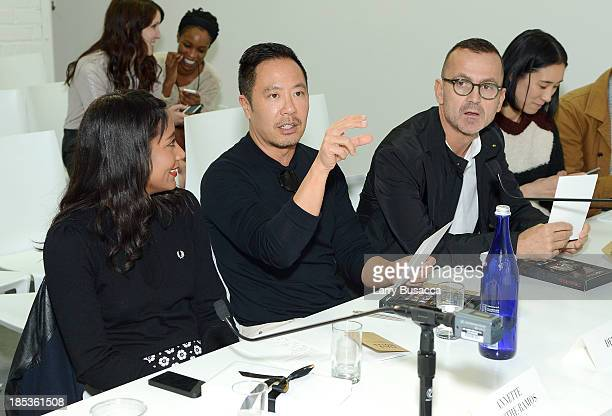 Annette LamotheRamos Derek Lam and Steven Kolb attend Amazon Fashion Studio Sessions at Williamsburg Photography Studio Opening on October 19 2013 in...
