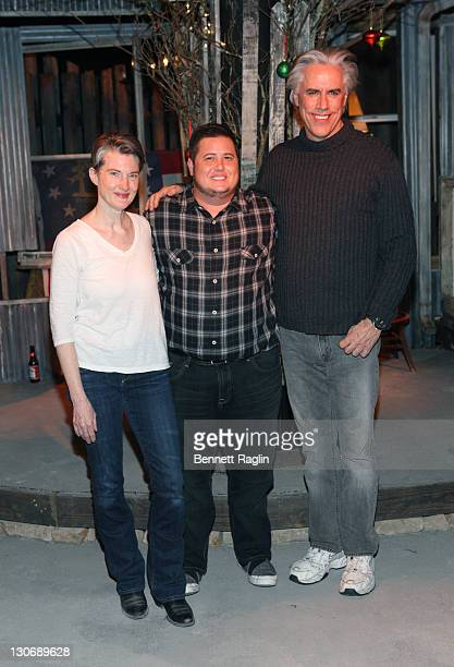 """Annette O'Toole, Chaz Bono, and Jeff McCarthy attend a performance of """"Southern Comfort"""" at CAP21 on October 27, 2011 in New York City."""