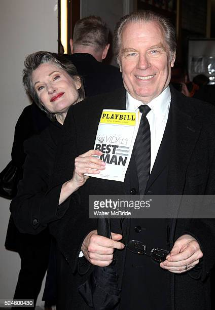 Annette O'Toole & Michael McKeon exiting the Stager Door after the Broadway Opening Night Performance of 'Gore Vidal's The Best Man' at the Gerald...