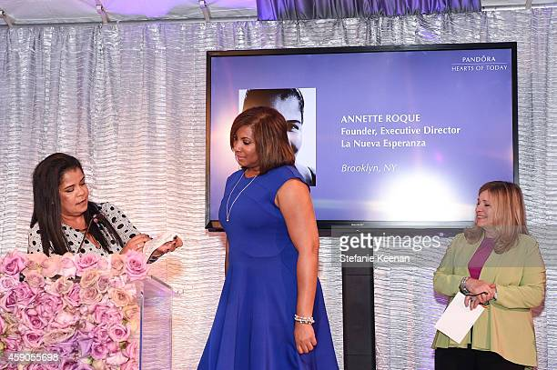 Annette Roque and Keshia Holland attend PANDORA Hearts Of Today Honoree Luncheon at Montage Beverly Hills on November 15 2014 in Beverly Hills...