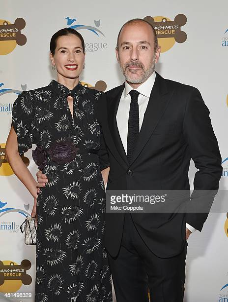 Annette Roque and television journalist Matt Lauer attend the 2013 Animal League America Celebrity gala at The Waldorf Astoria on November 22 2013 in...