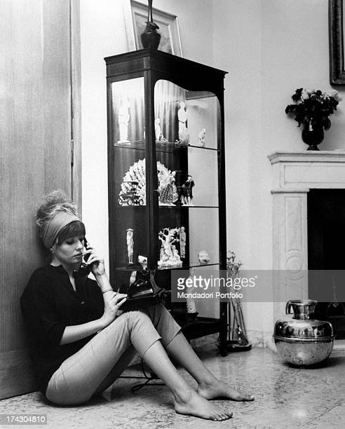 Annette Susanne Str¯yberg the Danish movie actress absorbed in reading Oedipus the King by Sophocles while smokes a cigarette Str¯yberg began her...