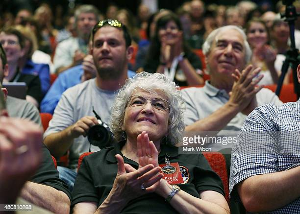 Annette Tombaugh Sitze daughter Pluto discoverer Clyde Tombaugh watches as images of Pluto that were taken by the New Horizons spacecraft that flew...