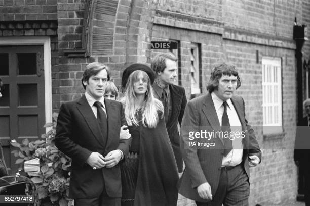 Annette WalterLax supported by a friend arriving at Golders Green Crematorium in North London to attend the funeral of her finance Keith Moon the...