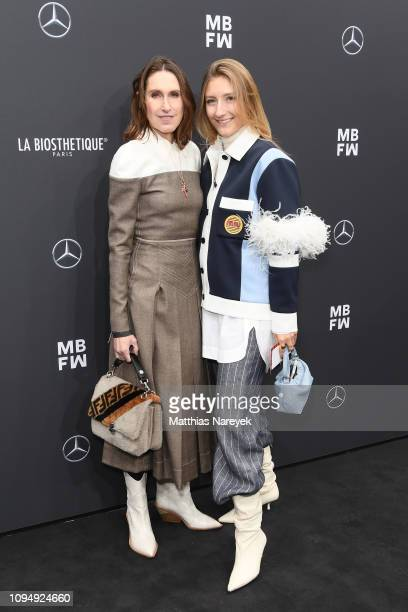 Annette Weber and Alexandra Seifert attend the Rebekka Ruetz show during the Berlin Fashion Week Autumn/Winter 2019 at ewerk on January 16 2019 in...