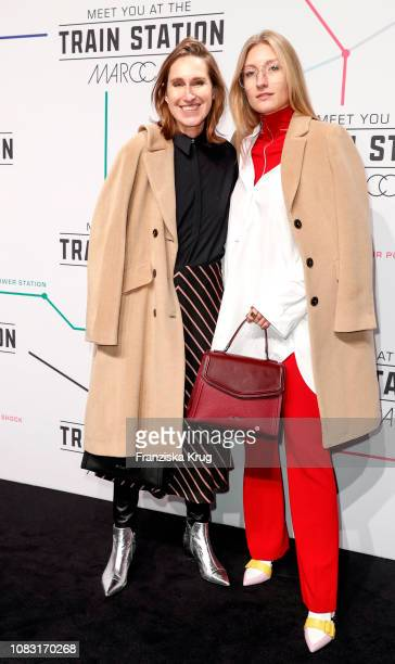 Annette Weber and Alexandra Seifert during the Marc Cain Fashion Show Autumn/Winter 2019 at Deutsche Telekom's representative office on January 15...