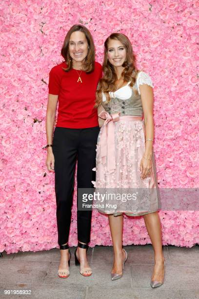 Annette Weber and Cathy Hummels during the Cathy Hummels by Angermaier collection presentation at Titanic Hotel on July 5 2018 in Berlin Germany