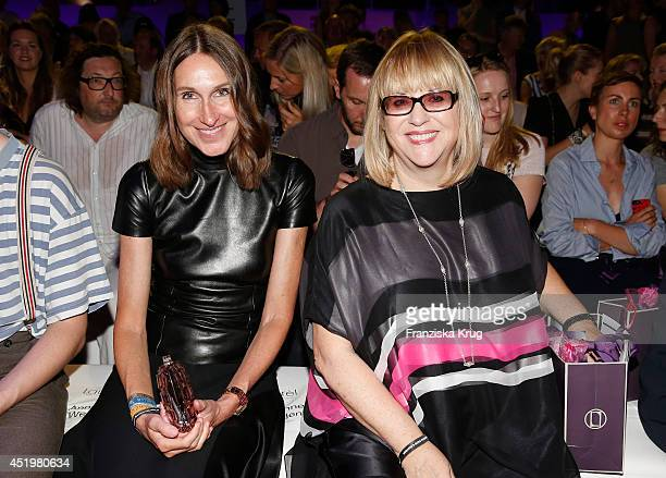 Annette Weber and Patricia Riekel attend the Laurel show during the MercedesBenz Fashion Week Spring/Summer 2015 at Erika Hess Eisstadion on July 10...