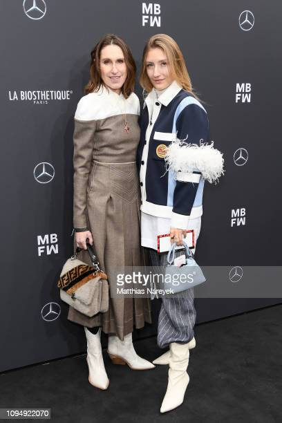 Annette Weber and Stella von Senger attend the Rebekka Ruetz show during the Berlin Fashion Week Autumn/Winter 2019 at ewerk on January 16 2019 in...