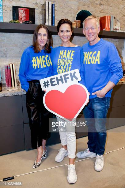 Annette Weber Judith Dommermuth and German presenter Johannes B Kerner attend the Kickoff Europa #MEGA event hosted by Place to B at The Corner on...
