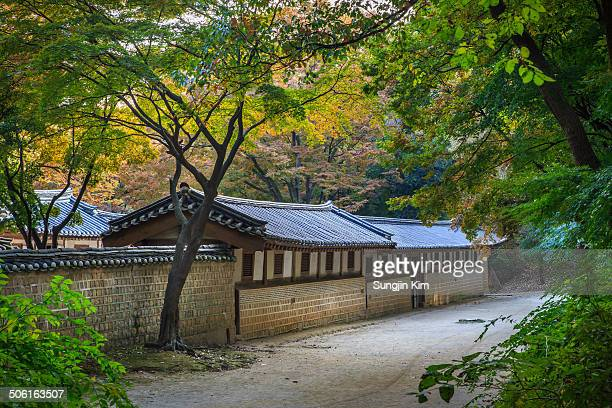 CONTENT] Annex building of Changdeokgung Palace with autumn foliage beside the pathway Seoul 2013