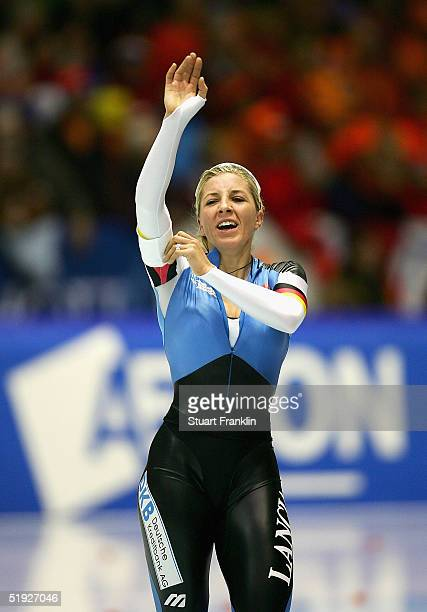 Anni Friesinger of Germany celebrates after the womens 3000m at The European Speed Skating Championships 2005 at TheThialf Ice Stadium on January 8...