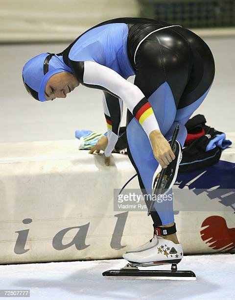 Anni Friesinger of Germany cleans her skating shoes prior to the women's 1500m final during day 1 of the Essent ISU Speed Skating World Cup at the...