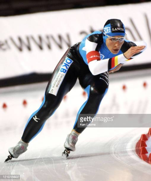 Anni Friesinger of Germany competes in the Womens 1000m Essent ISU World Cup Speed Skating event at the Olympic Oval in Salt Lake City Utah Nov 18...