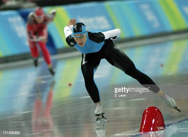 Anni Friesinger of Germany during the Women's Speed Skating 3000 M race in the 2006 Olympic Games at the Oval Lingotto in Torino Italy on February 12...