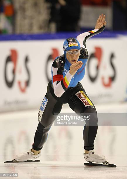 Anni Friesinger of Germany in action during the ladies 500m race during the first day of the World sprint speed skating Championships on January 19...