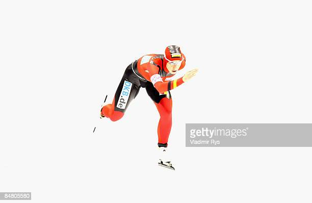 Anni Friesinger of Germany in action over the 1500m race during the Essent ISU speed skating World Cup at the Thialf Stadium on February 15 2009 in...