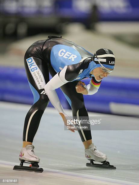 Anni Friesinger of Germany looks distressed after the womens 5000m The European Speed Skating Championships 2005 at TheThialf Ice Stadium on January...
