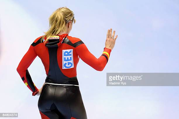 Anni Friesinger of Germany reacts after winning the 1500m race during the Essent ISU speed skating World Cup at the Thialf Stadium on February 15...