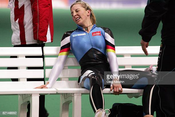 Anni Friesinger of Germany rests between races at the World Speed Skating Championships on February 6 2005 in Moscow Russia