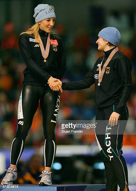 Anni Friesinger of Germany shakes hands with Daniela Anschutz of Germany after the Womens 500m race at The European Speed Skating Championships 2005...