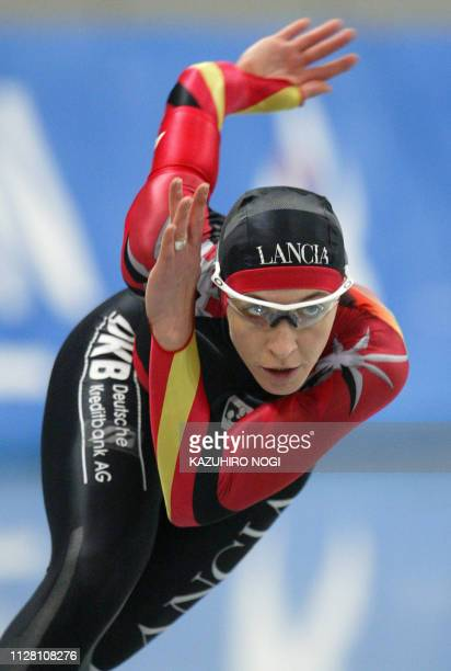 Anni Friesinger of Germany skates in the women's 1000m at the world sprint championships at Nagano Olympic memorial arena MWave 17 January 2004...