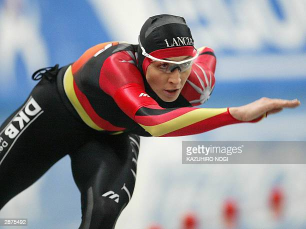 Anni Friesinger of Germany skates in the women's 1000m at the world sprint championships at the Nagano Olympic memorial arena MWave 17 January 2004...