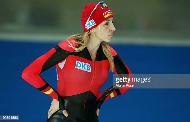 Anni Friesinger Postma of Germany is seen before the women 500 m Division A race during the Essent ISU World Cup Speed Skating on November 8 2009 in...