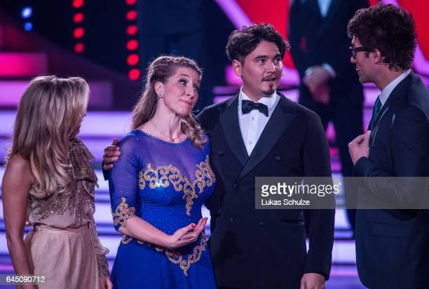Anni FriesingerPostma and Erich Klann perform on stage during the preshow 'Wer tanzt mit wem Die grosse Kennenlernshow' for the television...