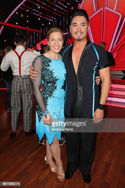 Anni FriesingerPostma and Erich Klann pose after the 3rd show of the tenth season of the television competition 'Let's Dance' on March 31 2017 in...