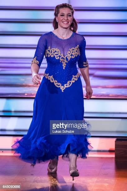 Anni FriesingerPostma arrives on stage during the preshow 'Wer tanzt mit wem Die grosse Kennenlernshow' for the television competition 'Let's Dance'...