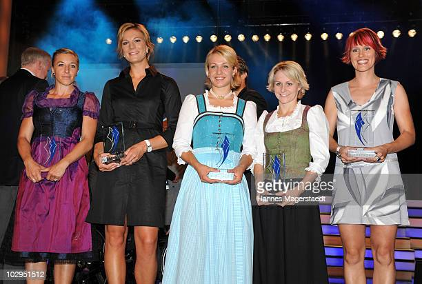 Anni FriesingerPostma Maria Riesch Magdalena Neuner Katrin Zeller and Kati Wilhelm during the Bavarian Sport Award 2010 at the International Congress...
