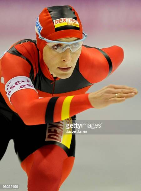 Anni Friesinger-Postma of Germany competes in the 1500m race during the Essent ISU speed skating World Cup at the Thialf Stadium on November 14, 2009...