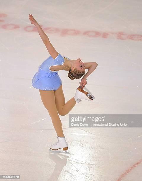 Anni Jarvenpaa of Finland performs during the junior ladies short program of the ISU Junior Grand Prix of Figure Skating Logrono on October 1 2015 in...