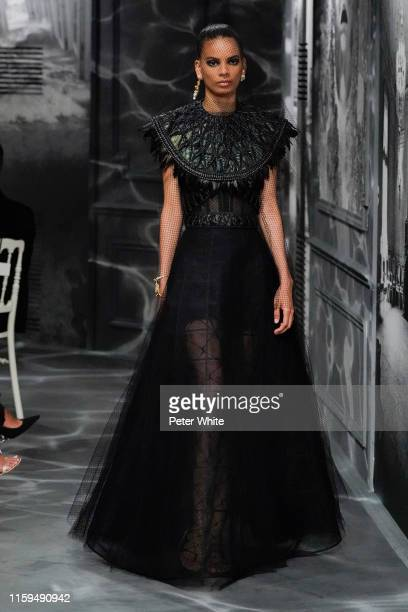 AnniBelis Baez walks the runway during the Christian Dior Haute Couture Fall/Winter 2019 2020 show as part of Paris Fashion Week on July 01, 2019 in...