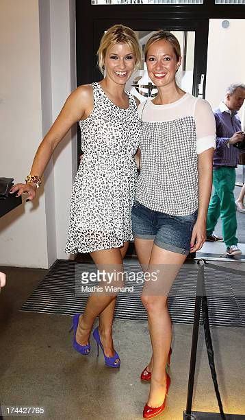 Annica Hansen and Angela FingerErben attend the 'ADONIA meets Duesseldorf' Concept Store Opening at GFG Concept Store at Schwanenhoefe on July 25...