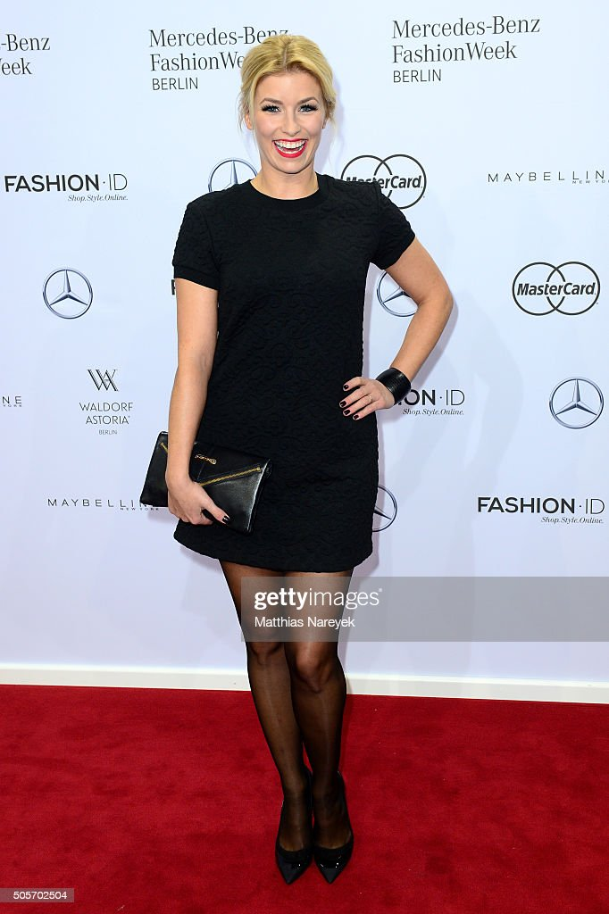 Annica Hansen attends the Riani show during the Mercedes-Benz Fashion Week Berlin Autumn/Winter 2016 at Brandenburg Gate on January 19, 2016 in Berlin, Germany.