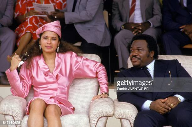 Annick Bongo and husband Ali Bongo son of President Omar Bongo during inauguration of Transgabonais train on December 30 1986 in Gabon