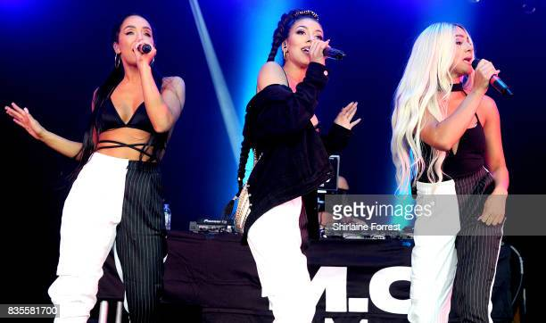 Annie Ashcroft Chanal Benjilali and Nadine Samuels of MO perform live on stage during V Festival 2017 at Weston Park on August 19 2017 in Stafford...