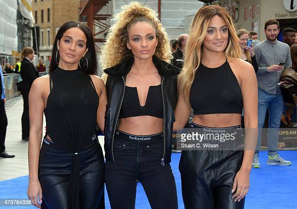 Annie Ashcroft Frankee Connelly and Nadine Samuels of girl band 'MO' attend the Tomorrowland A World Beyond European premiere at Leicester Square on...