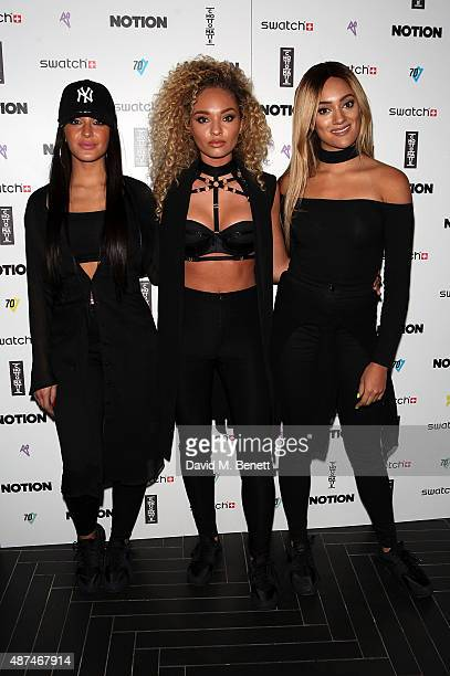 Annie Ashcroft Frankee Connolly and Nadine Samuels of band MO attend the Notion Magazine X Swatch Issue 70 launch party at Chotto Matte on September...