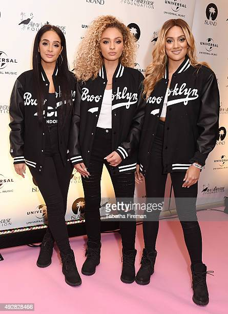 Annie Ashcroft Frankee Connolly and Nadine Samuels of girl group MO attend the Amy Winehouse Foundation Gala at The Savoy Hotel on October 15 2015 in...