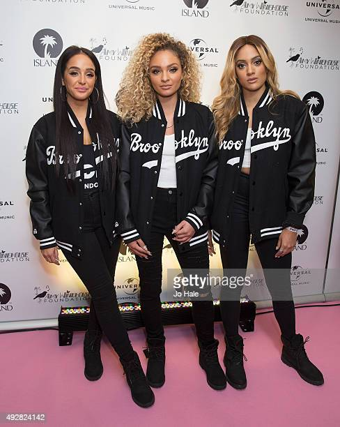 Annie Ashcroft Frankee Connolly and Nadine Samuels of MO attend the Amy Winehouse Foundation Gala Red Carpet at The Savoy Hotel on October 15 2015 in...