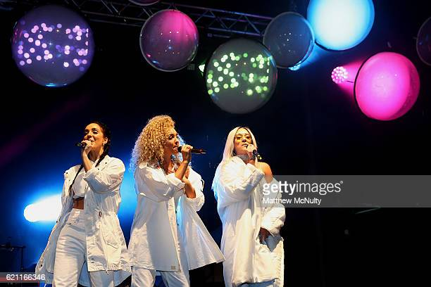 Annie Ashcroft Frankee Connolly and Nadine Samuels of MO perform at the Manchester Christmas Lights Switch On event on November 4 2016 in Manchester...