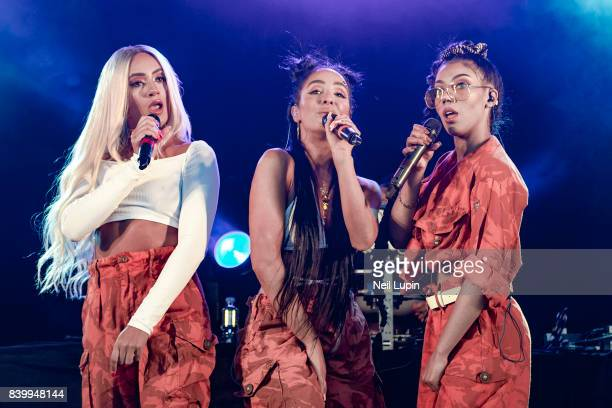 Annie Ashcroft Frankee Connolly and Nadine Samuels of MO perform live on stage during V Festival 2017 at Hylands Park on August 20 2017 in Chelmsford...