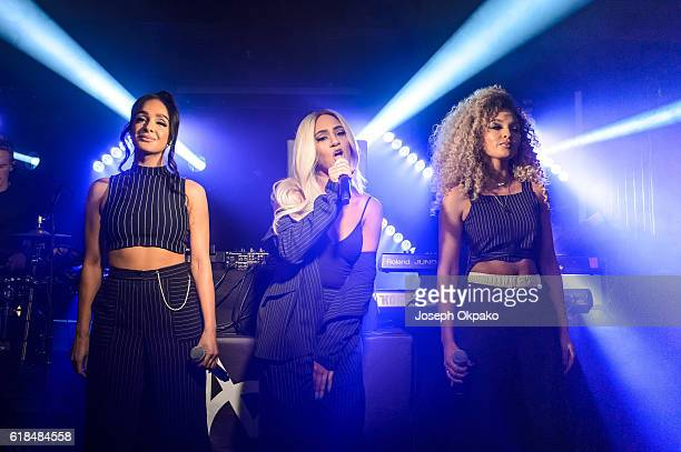 Annie Ashcroft Nadine Samuels and Frankee Connelly of MO perform at O2 Academy Islington on October 26 2016 in London England