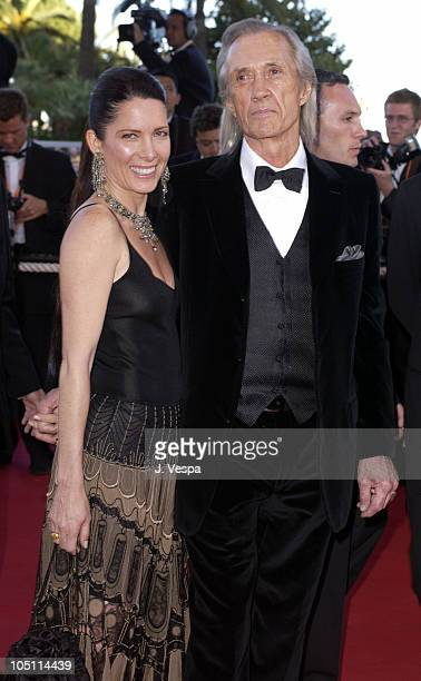Annie Bierman and David Carradine during 2003 Cannes Film Festival 'Le Temp Du Loup' Premiere at Palais Des Festival in Cannes France
