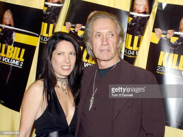 Annie Bierman and David Carradine during 'Kill Bill Vol 2' Dublin Premiere at Savoy Cinema in Dublin Ireland
